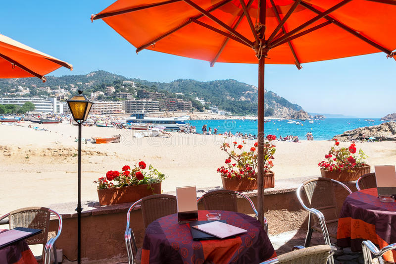 海滩de 3月tossa 肋前缘Brava,卡塔龙尼亚,西班牙 免版税库存照片