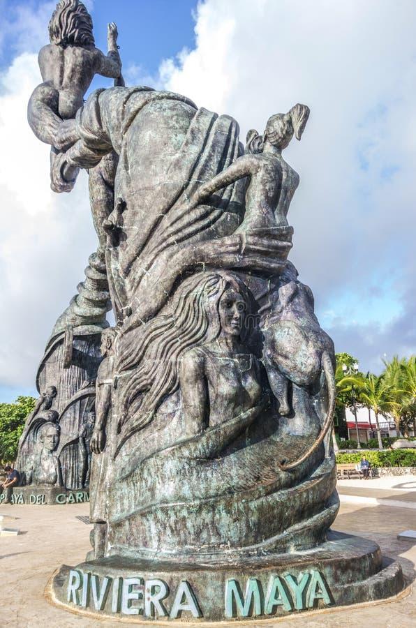 海滨del卡门雕象,墨西哥 免版税库存照片