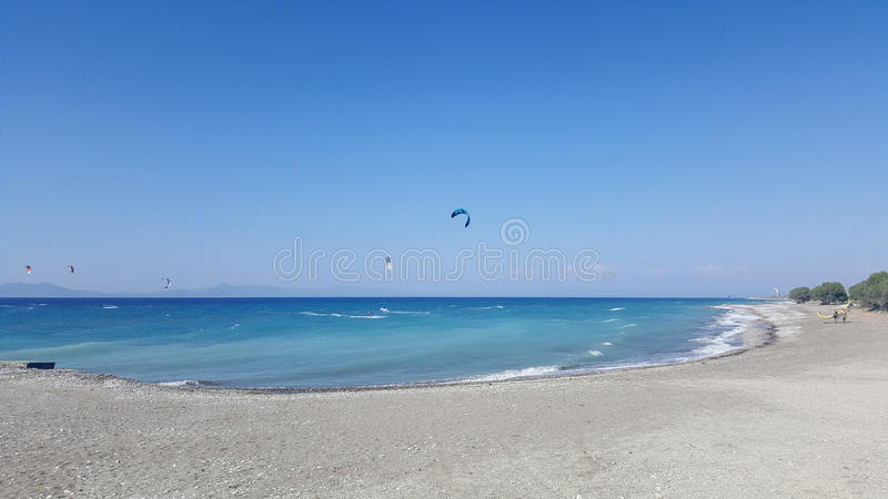 海滩Prasonisi在罗得岛希腊 免版税库存照片
