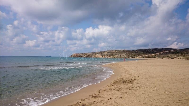 海滩Prasonisi在罗得岛希腊 库存图片
