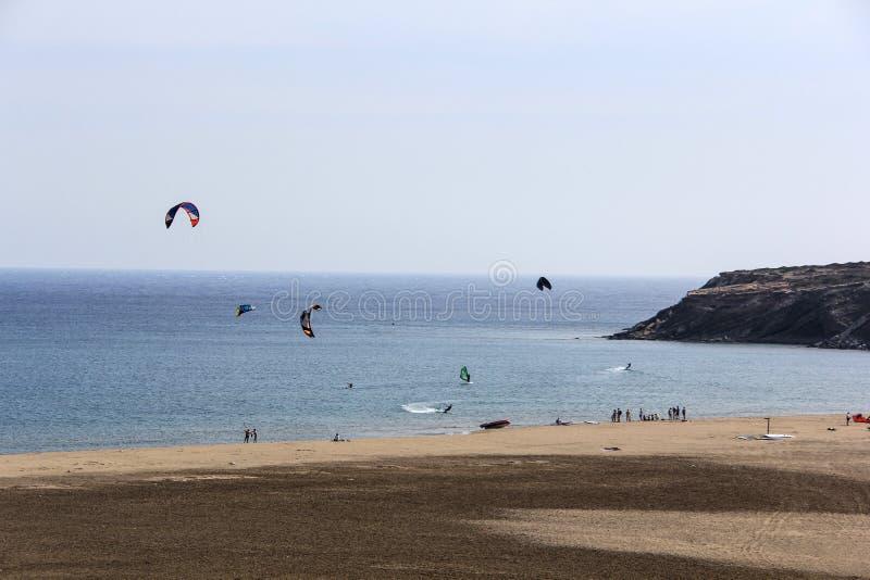 海滩Prasonisi在罗得岛希腊 免版税库存图片