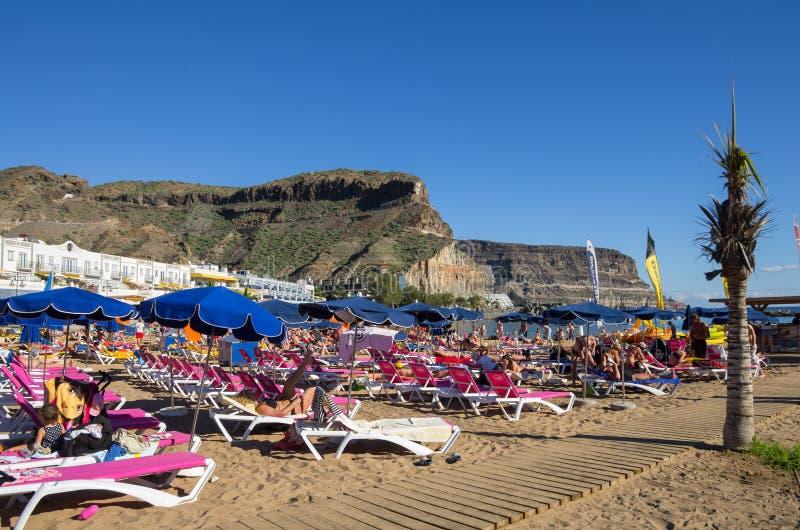 海滩Puerto de Mogan 库存图片