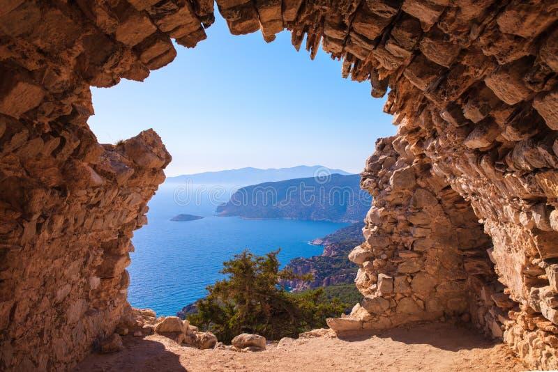 海skyview从Monolithos城堡废墟的风景照片在罗得岛海岛,十二群岛,希腊上的 有绿色山的全景 库存图片