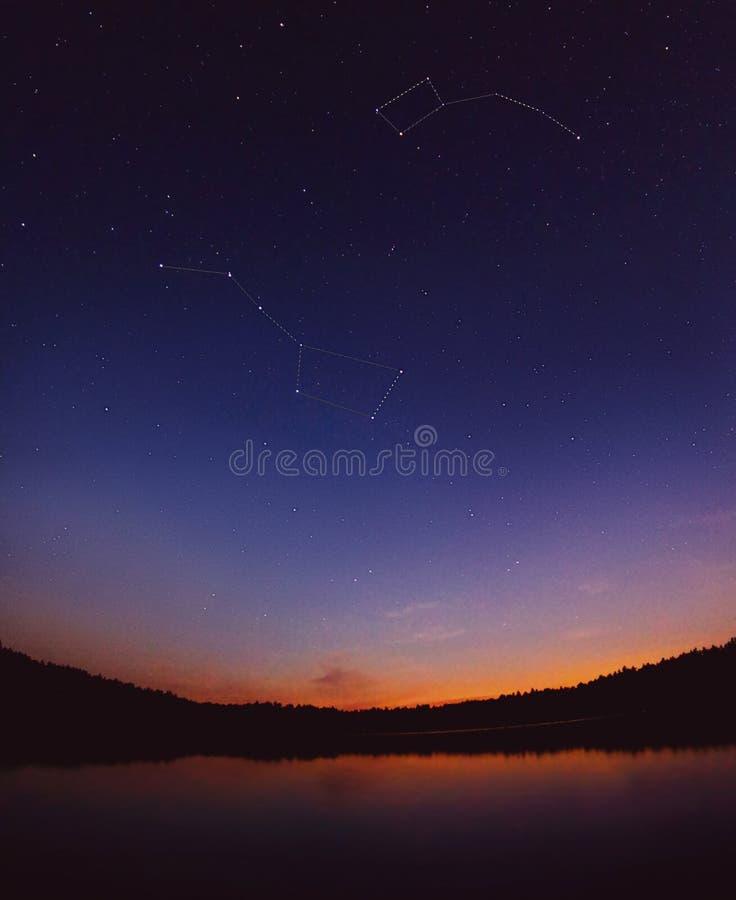 浸染工在天空担任主角由湖 风景的横向 Ursa majo 免版税库存照片