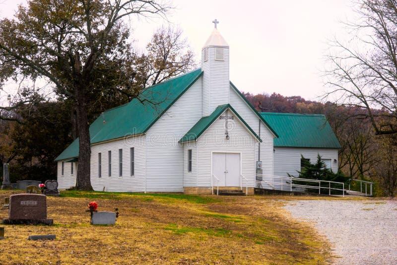 浸礼会教友在格陵兰,阿肯色附近的福特教会 免版税库存照片