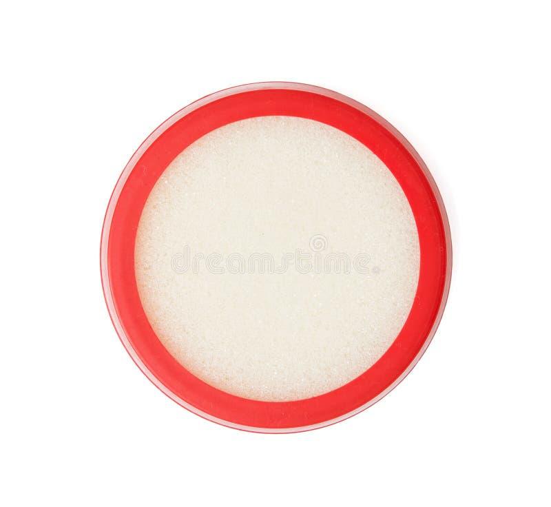 浸洗的手指圆的塑料海绵盒在白色backg 库存照片
