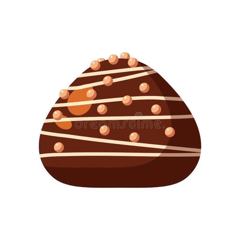 涂了巧克力的糖果糖果充塞了牛乳糖,奶油甜点,奶油 传染媒介例证糖果在白色隔绝的catoon象 库存例证