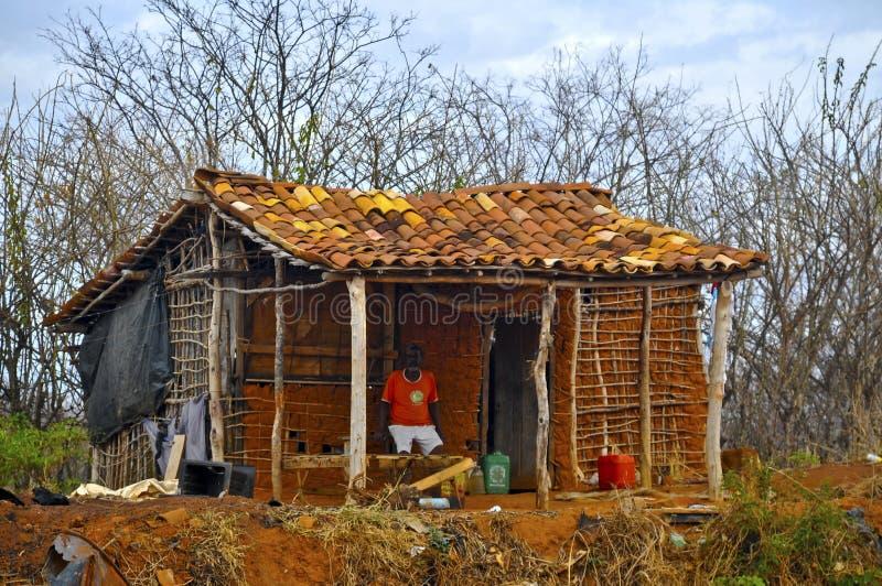涂抹favela房子篱笆条 库存图片