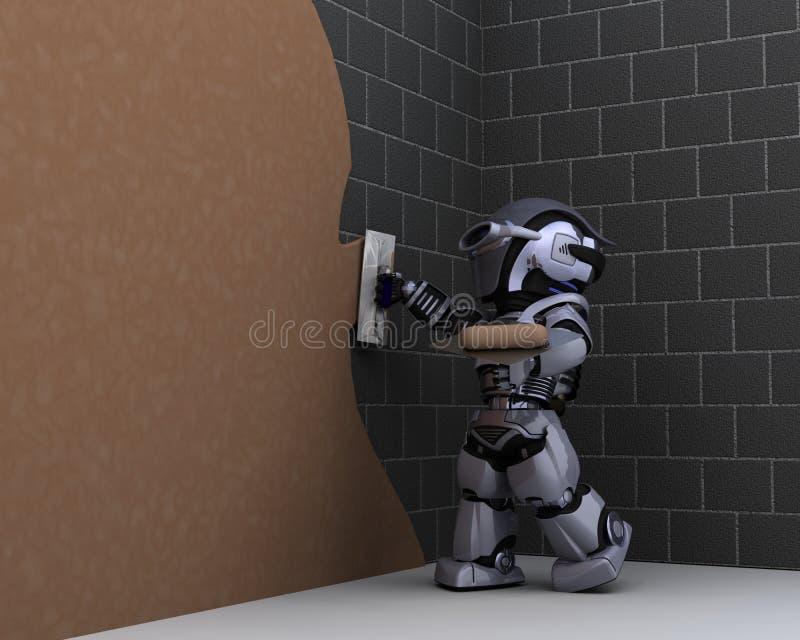 涂灰泥机器人墙壁的承包商 向量例证