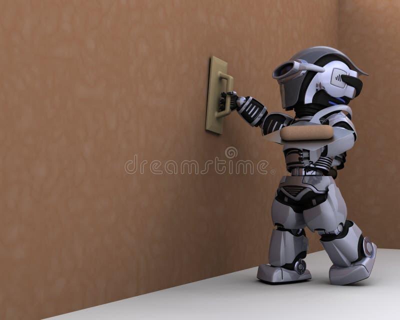 涂灰泥机器人的承包商干式墙 库存例证