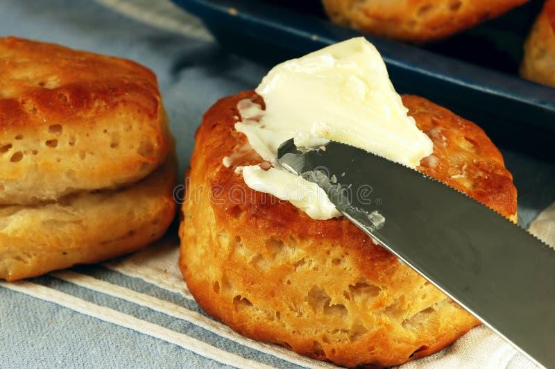 涂黄油的饼干 免版税库存图片