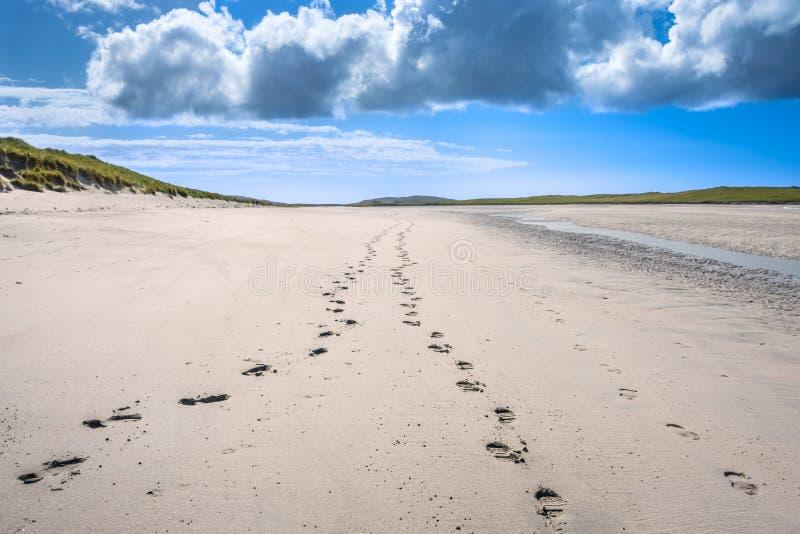 消失在沙滩的距离的脚印 免版税库存图片