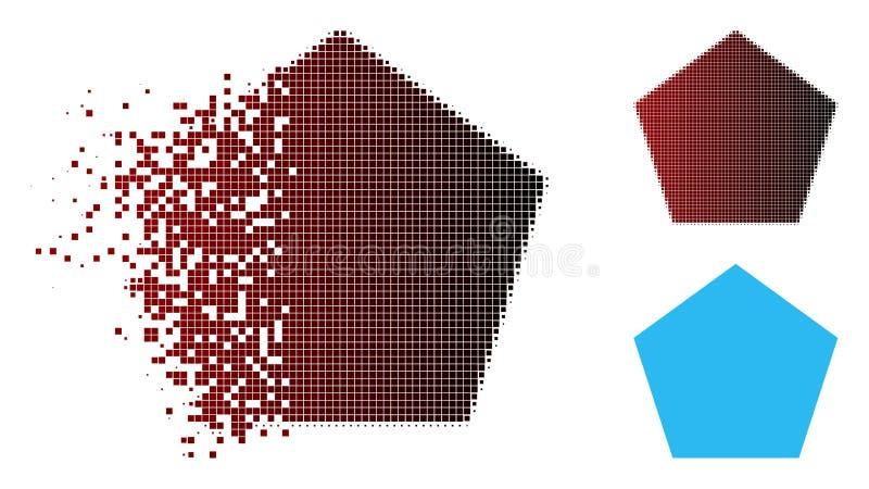 消失的Pixelated中间影调被填装的五角大楼象 库存例证