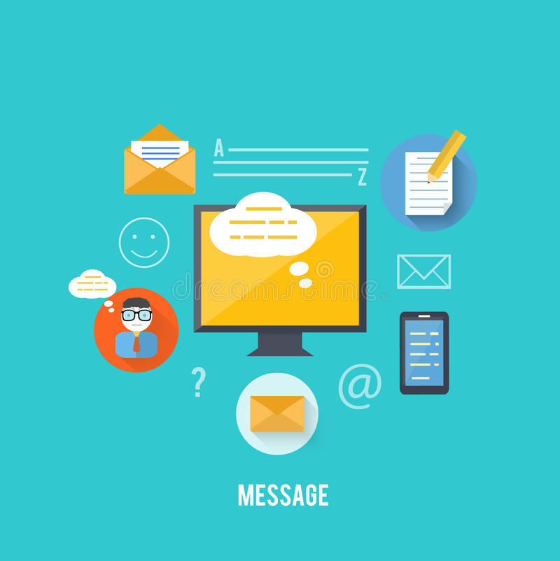 消息和电子邮件技术的概念 库存例证