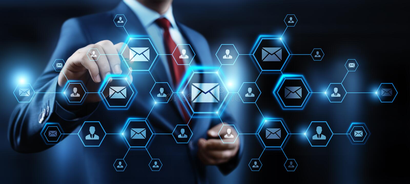 消息电子邮件邮件通信网上闲谈企业互联网技术网络概念 免版税库存照片