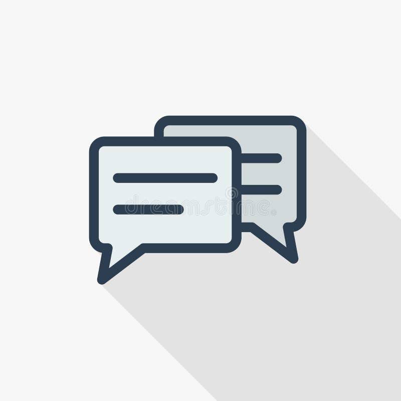 消息,闲谈,讲话泡影,谈话,对话稀薄的线平的颜色象 线性传染媒介标志 五颜六色的长的阴影设计 库存例证