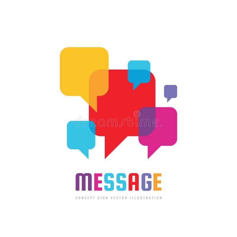 消息-传染媒介商标模板在平的样式的概念例证 谈的闲谈创造性的标志 社会媒介抽象符号 库存例证
