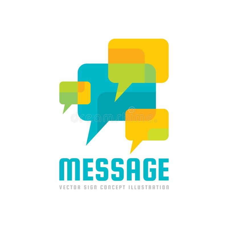 消息-传染媒介商标模板概念例证 讲话泡影创造性的标志 互联网闲谈象 抽象马赛克 向量例证