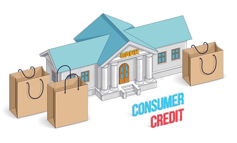 消费信贷概念,与在白色背景隔绝的购物袋的银行大楼,银行业务题材 等量传染媒介事务 向量例证