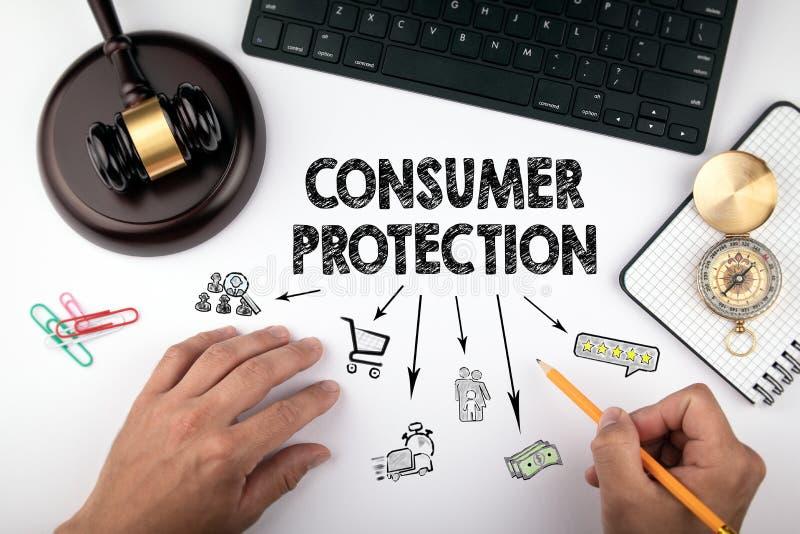 消费者保护法、法律和正义概念 免版税库存照片
