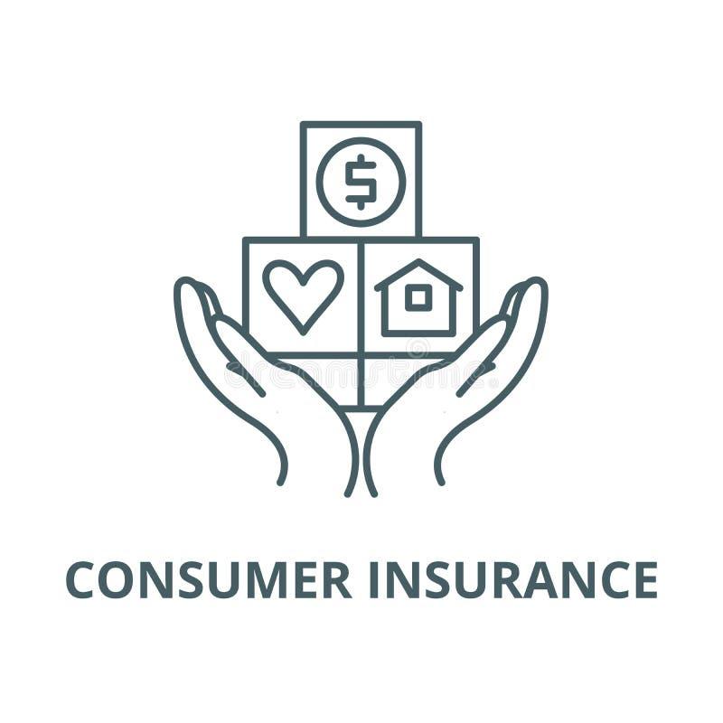 消费者保险传染媒介线象,线性概念,概述标志,标志 向量例证