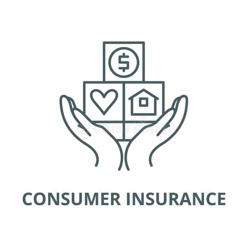 消费者保险线象,传染媒介 消费者保险概述标志,概念标志,平的例证 皇族释放例证