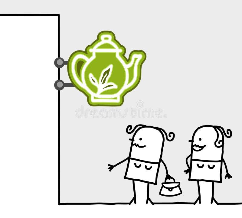 消费者界面符号茶室 皇族释放例证