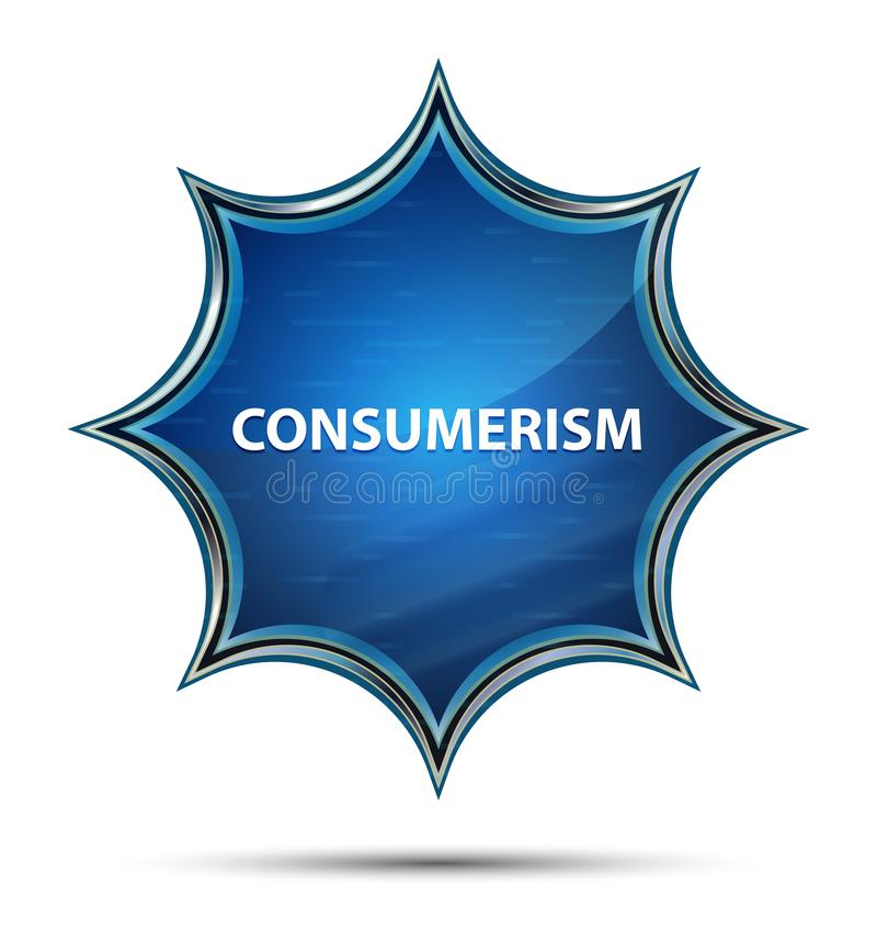 消费者至上主义不可思议的玻璃状旭日形首饰蓝色按钮 皇族释放例证