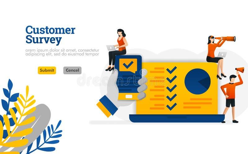 消费者调查应用程序用举行智能手机例证概念的手可以是用途为,登陆的页,模板,ui ux,网,mobi 向量例证