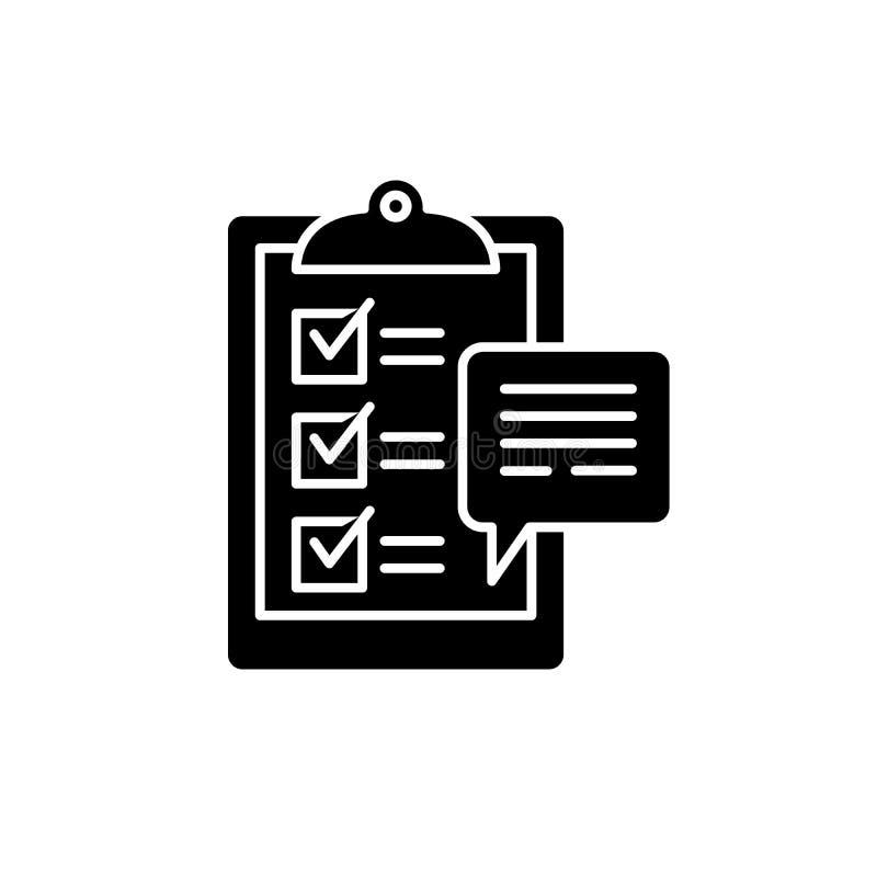 消费者调查黑象,在被隔绝的背景的传染媒介标志 消费者调查概念标志,例证 库存例证