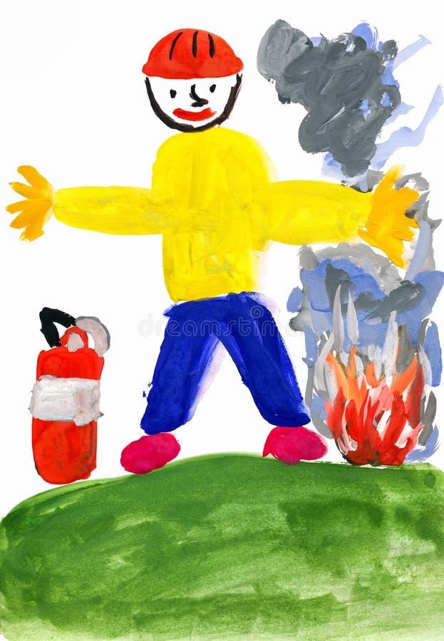 消防员。儿童图画 皇族释放例证