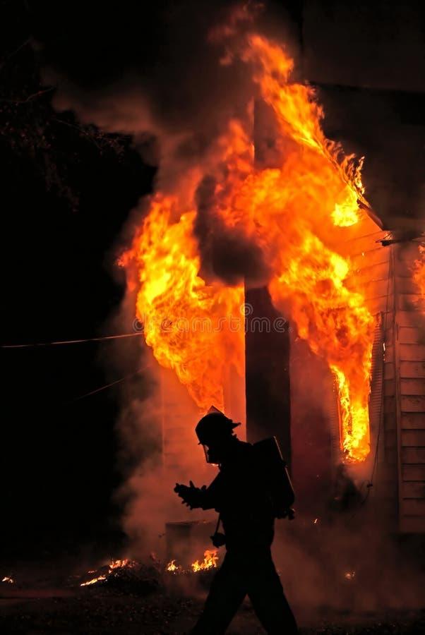 消防员剪影 库存图片