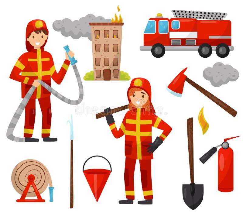 消防员和消防设施集合,卡车,灭火水龙带,消防栓,灭火器,轴,小块,桶,水管传染媒介 皇族释放例证
