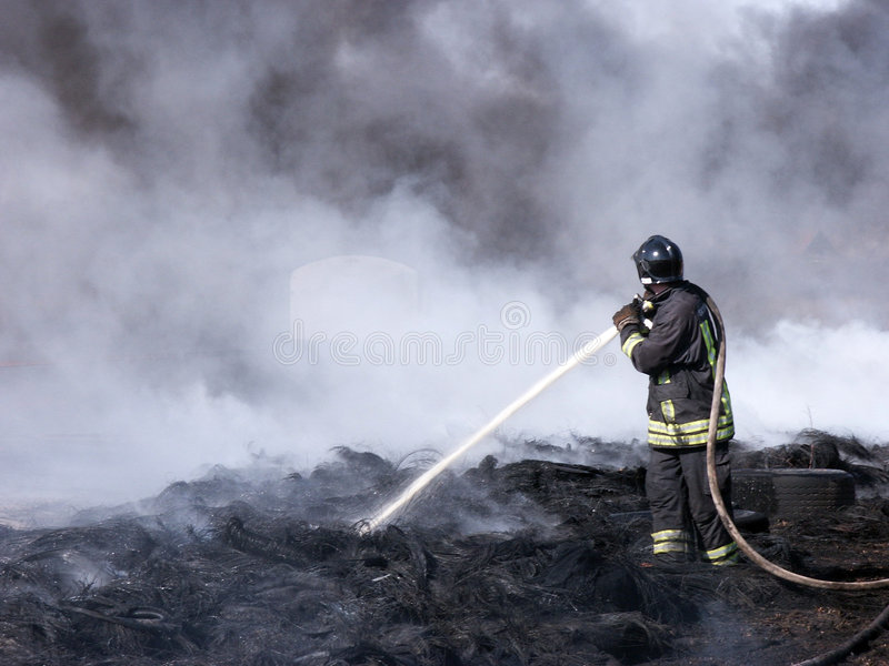消防员工作 库存照片