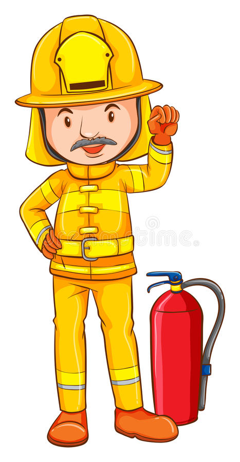 消防员的一张色的图画 库存例证