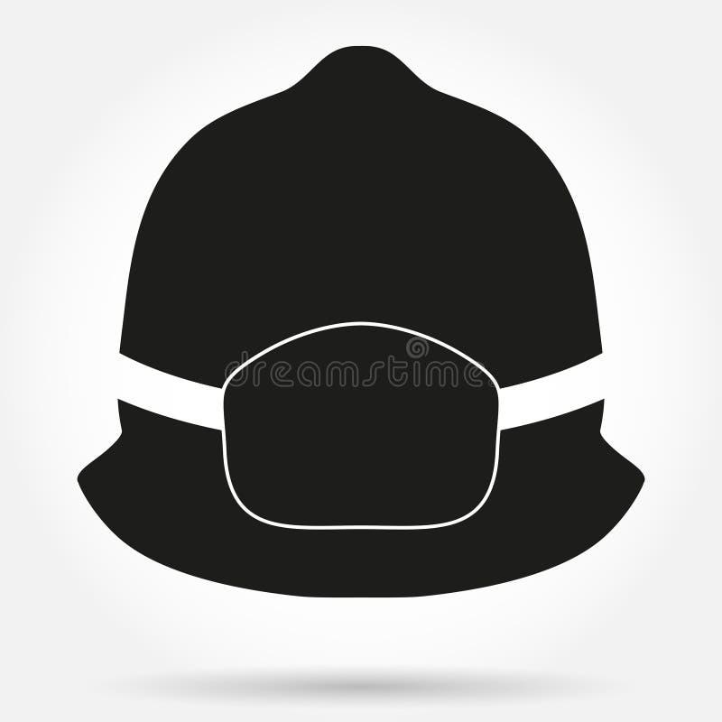 消防员盔甲传染媒介的剪影标志 库存例证