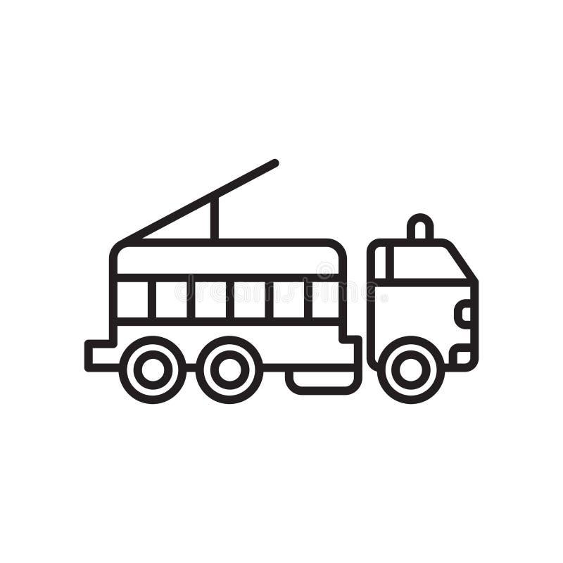 消防车在白色背景,消防车标志、标志和标志隔绝的象传染媒介在稀薄的线性概述样式 库存例证