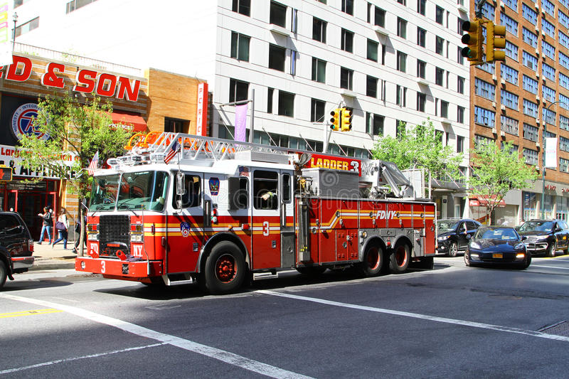 消防车在纽约城 库存照片