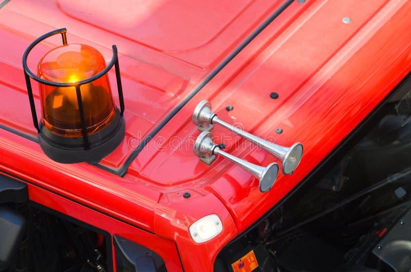 消防车的警报器的细节 库存图片