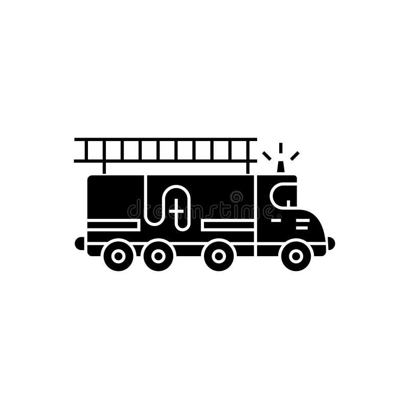 消防车-汽车象,传染媒介例证,在被隔绝的背景的黑标志 皇族释放例证