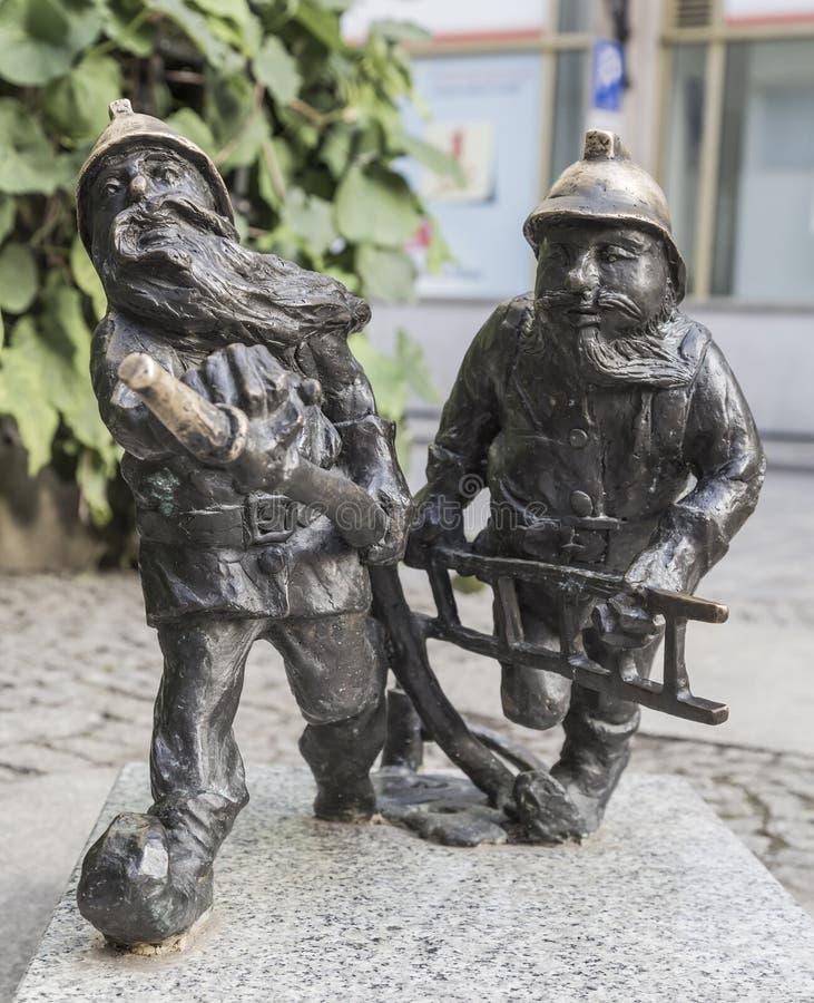 消防部门的地精在弗罗茨瓦夫 库存照片