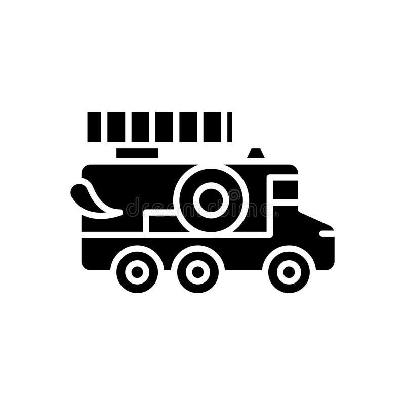消防部门黑色象概念 消防部门平的传染媒介标志,标志,例证 向量例证