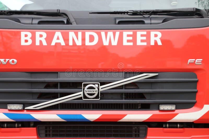消防队卡车前面在海牙 库存照片