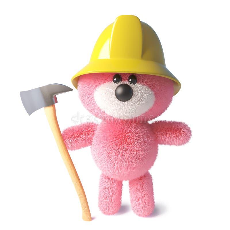 消防队员与桃红色蓬松毛皮佩带的firemans帽子和拿着轴,3d的玩具熊例证 库存例证