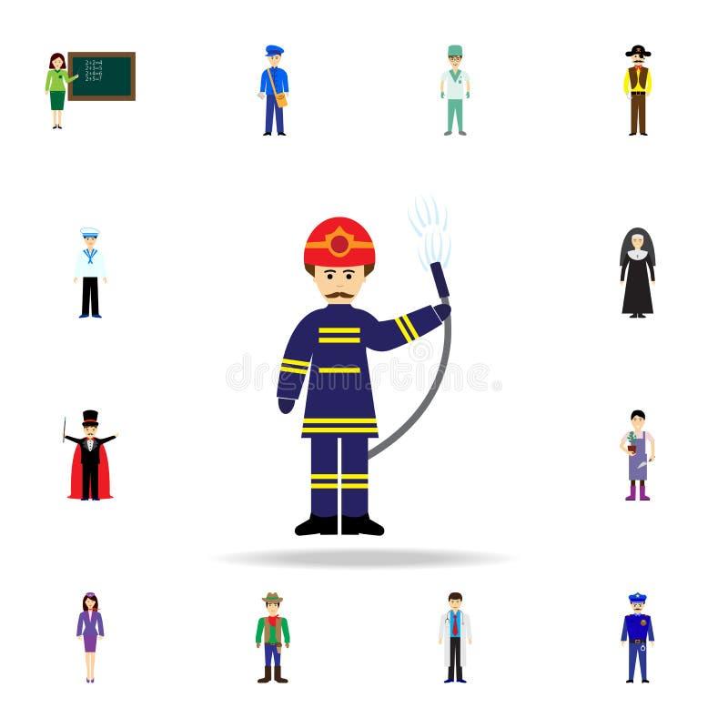 消防队员动画片象 详细的套颜色行业象 优质图形设计 其中一个网站的汇集象 库存例证