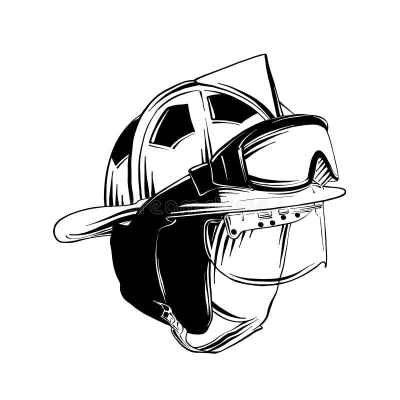 消防队员在白色背景隔绝的防毒面具手拉的剪影  详细的葡萄酒蚀刻样式图画 皇族释放例证