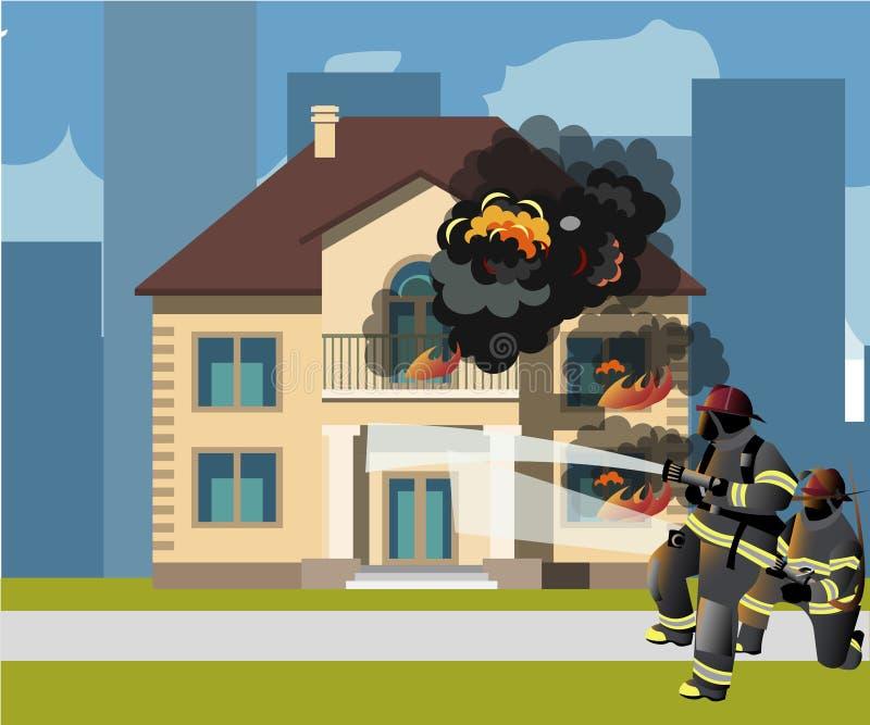 消防队员熄灭一个灼烧的房子 库存例证