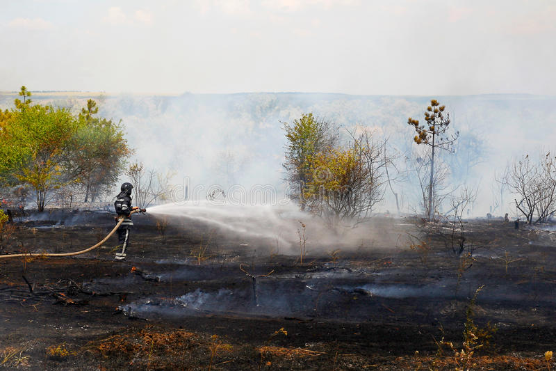 消防队员熄灭灼烧的草 库存图片