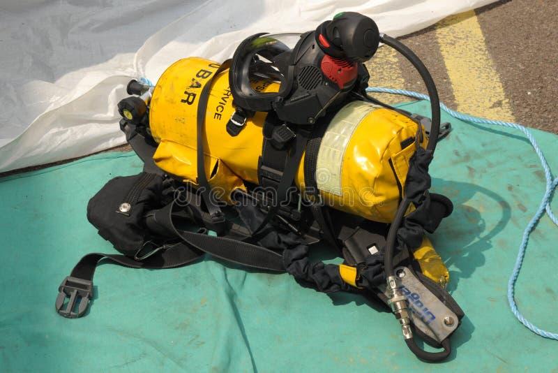 消防队员的呼吸器官。 免版税库存照片