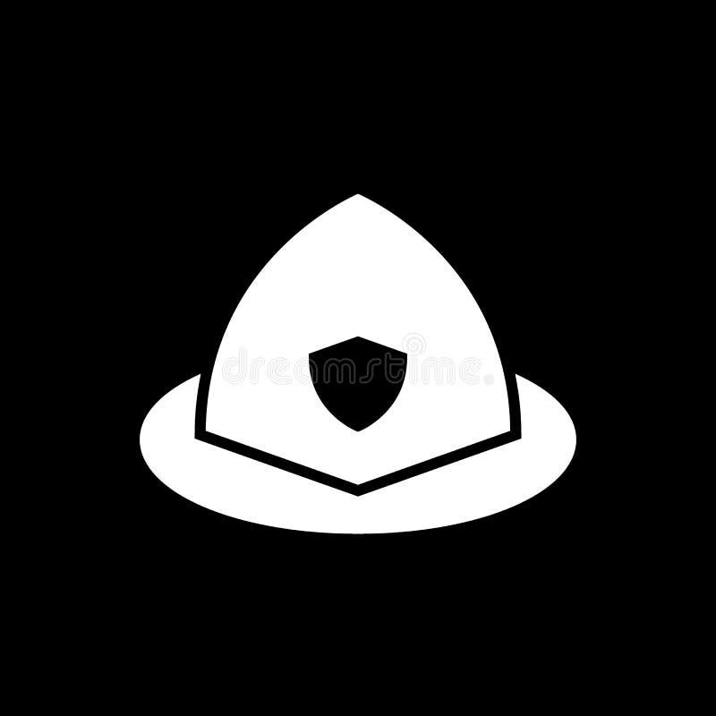 消防队员盔甲固体象 在黑色隔绝的传染媒介例证 纵的沟纹样式设计,设计为网和app EPS 皇族释放例证